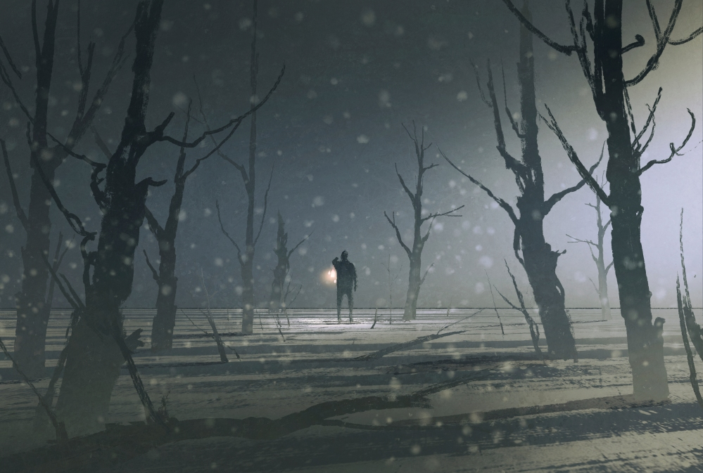man holding lantern stands in dark forest with fog,illustration painting