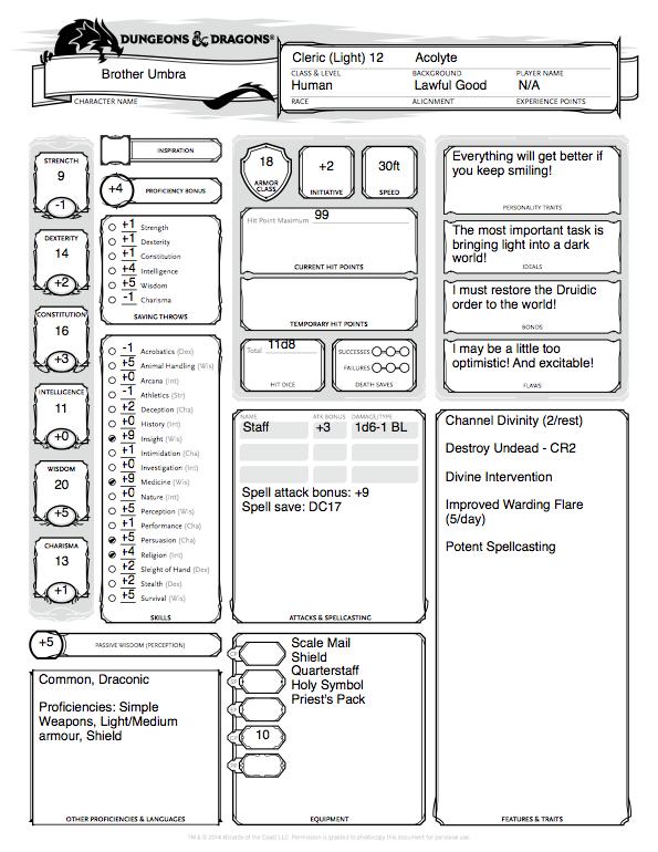 5e cleric spell sheet