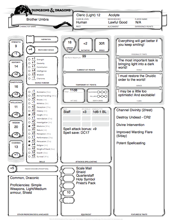 Character Craftroom – Light Domain Cleric – Winghorn Press