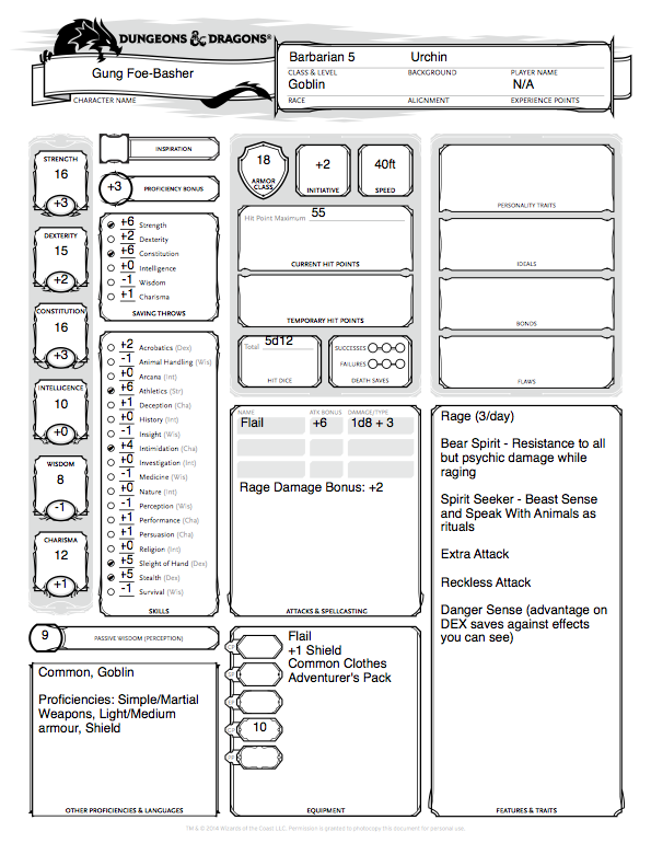 Character Craftroom – Goblin Barbarian – Winghorn Press